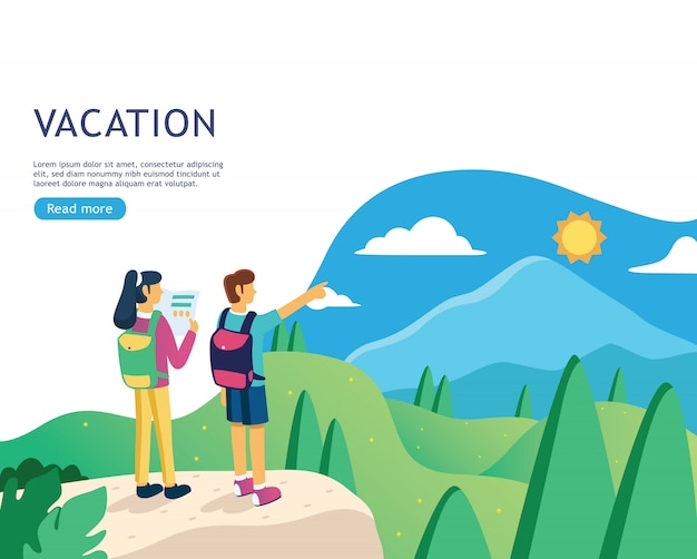 Flat design banner for vacation web page Premium Vector
