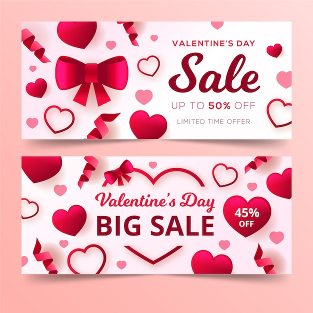 Flat design banners for valentine's day Free Vector