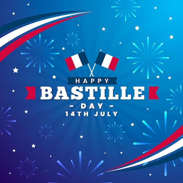 Flat design bastille day celebration Free Vector