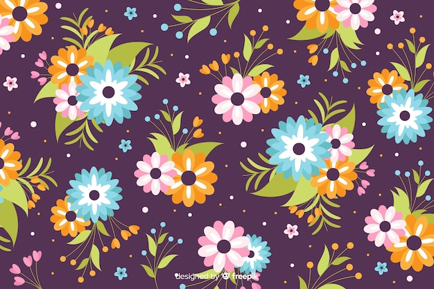 Flat design beautiful floral background Free Vector