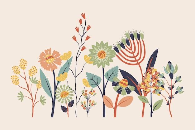 フラットなデザインの美しい春の花コレクション 無料ベクター