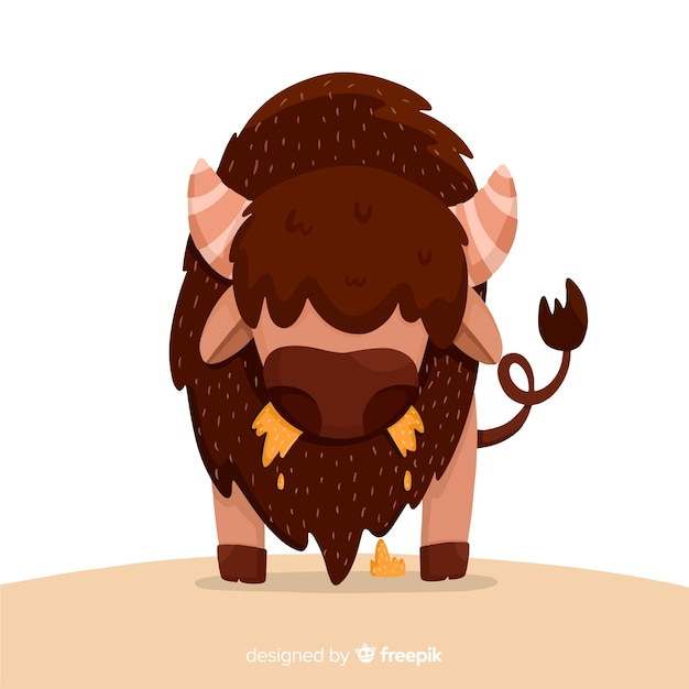 Flat design big buffalo Free Vector