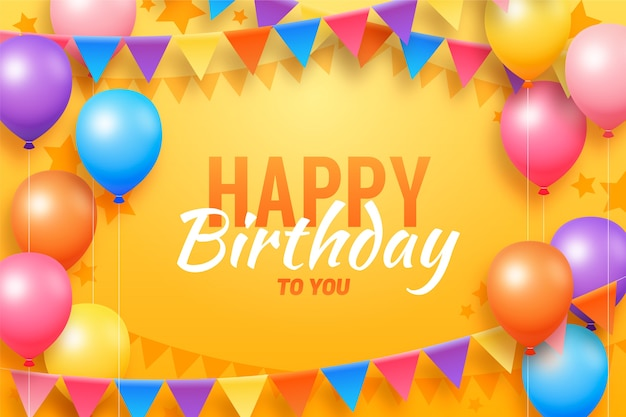 Flat design birthday background with balloons Free Vector