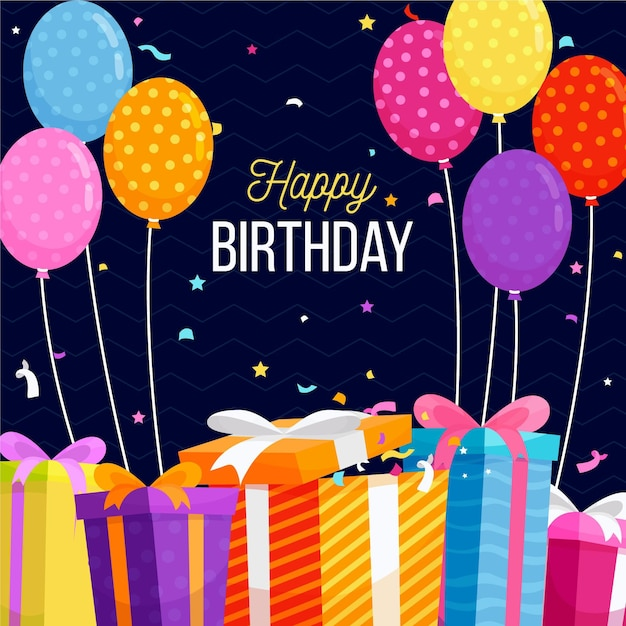 Flat design birthday background Free Vector