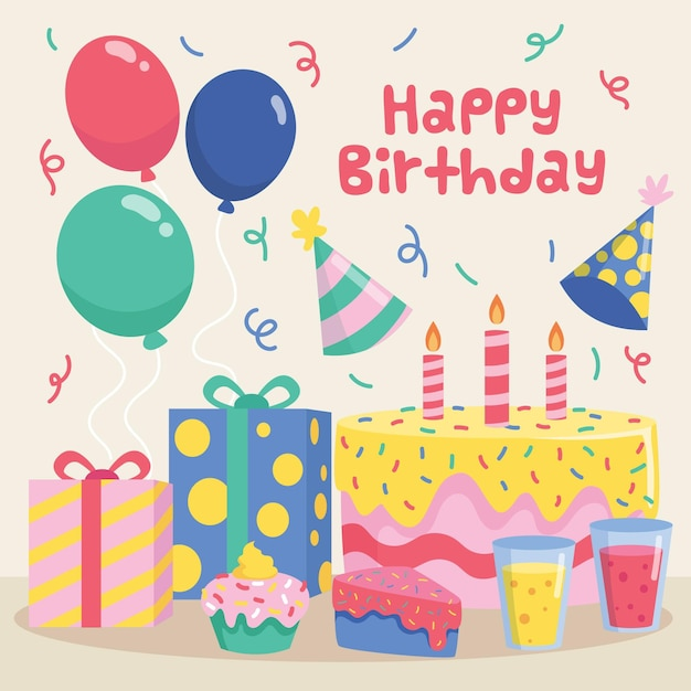 Flat design birthday background Premium Vector