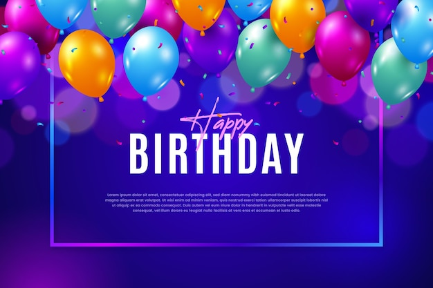 Flat design birthday background Free Vector
