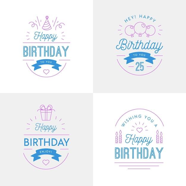 Коллекция значков на день рождения в плоском дизайне Бесплатные векторы