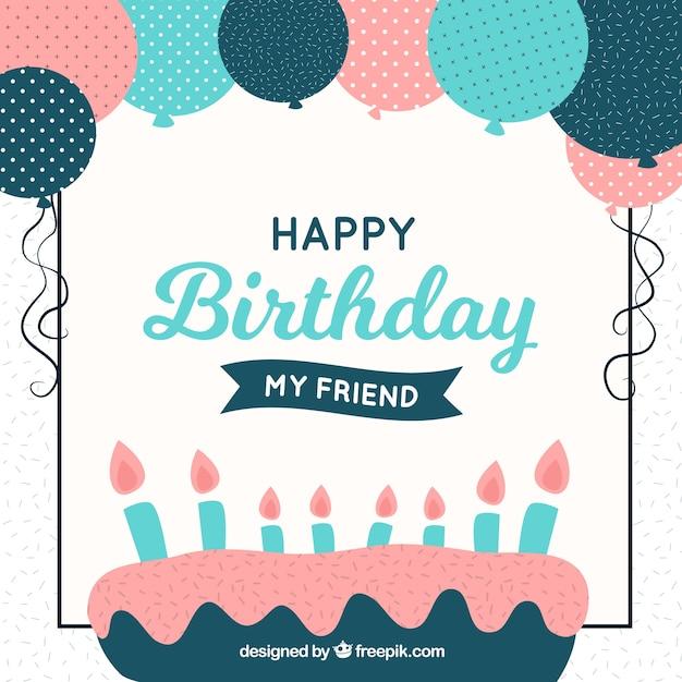Flat Design Birthday Cake Background Vector Free Download