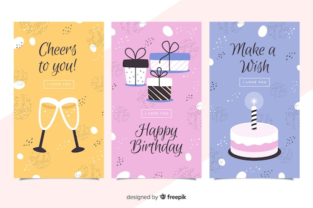 Flat design birthday card collection Free Vector