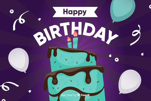 Flat design birthday celebration with cake Free Vector
