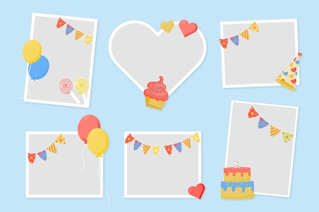 Design piatto compleanno collage cornice copia spazio Vettore gratuito