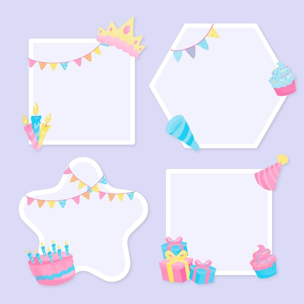 Cornice collage compleanno design piatto Vettore gratuito