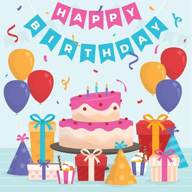 ケーキとプレゼントとフラットなデザインの誕生日のイラスト 無料ベクター
