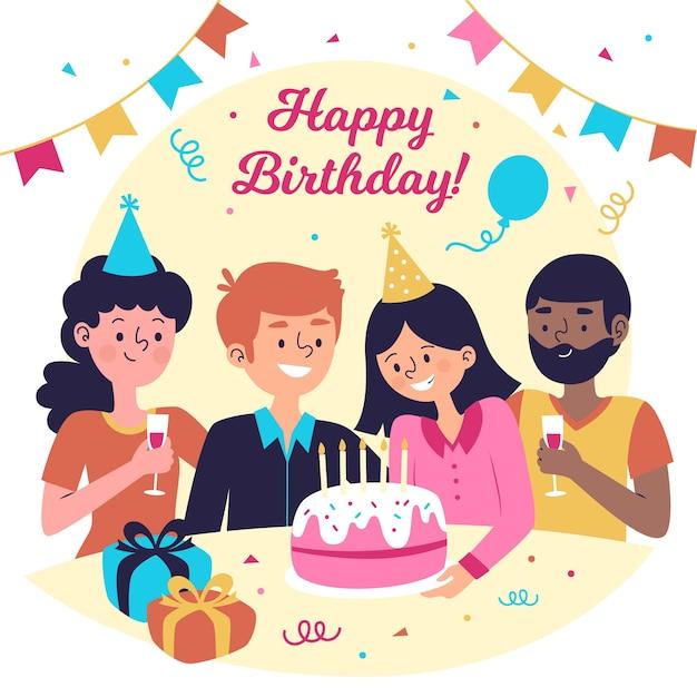 Плоский дизайн иллюстрация дня рождения с людьми и тортом Бесплатные векторы