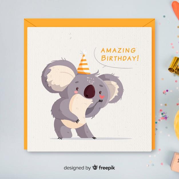 Flat design birthday invitation template Premium Vector