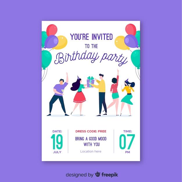 Flat design birthday invitation template Vector | Free Download