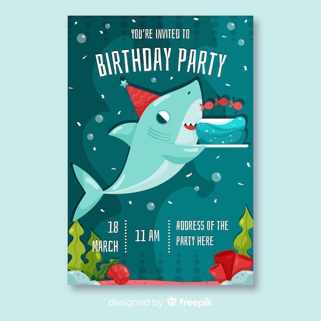 Flat Design Birthday Invitation Template Vector
