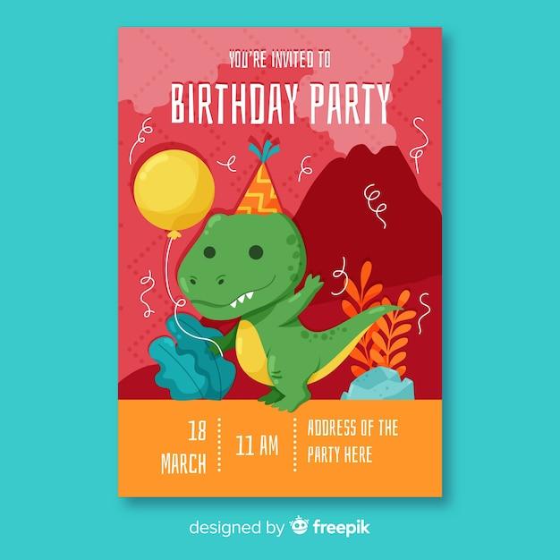 Flat design birthday invitation template Free Vector