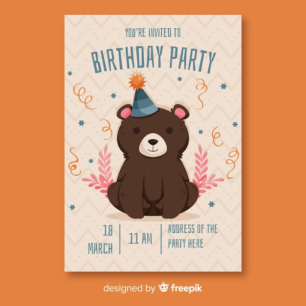 Flat design birthday invitation template Free Vector