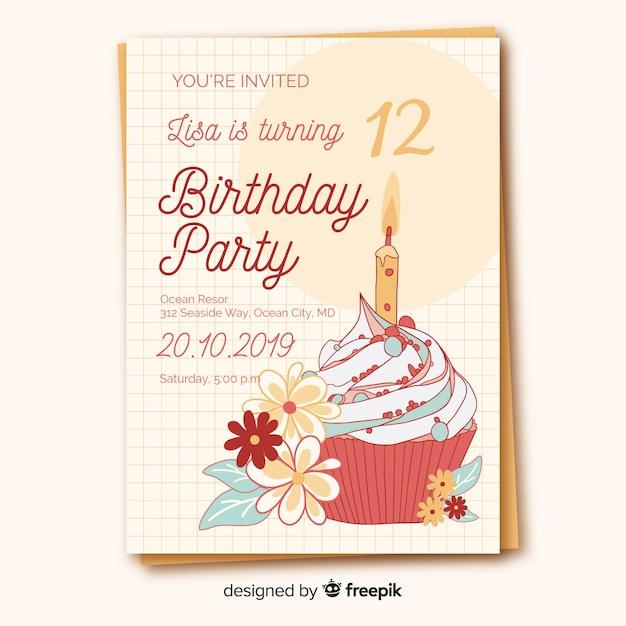 Flat Design Birthday Invitation Template Vector Free Download