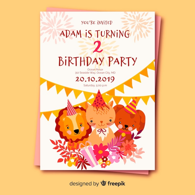 Flat Design Birthday Invitation Template Vector Free Download