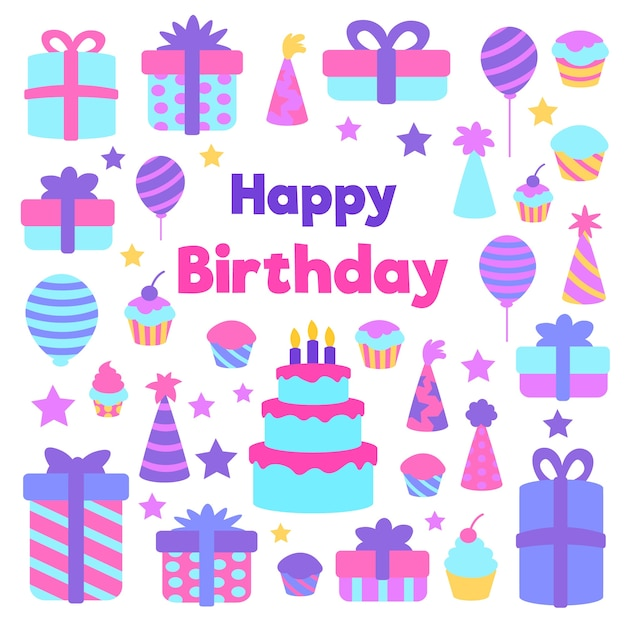 Invito di compleanno design piatto con elementi colorati Vettore gratuito