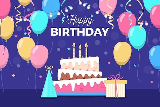 Carta da parati compleanno design piatto Vettore gratuito