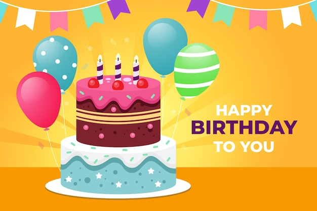 Flat design birthday wallpaper Free Vector