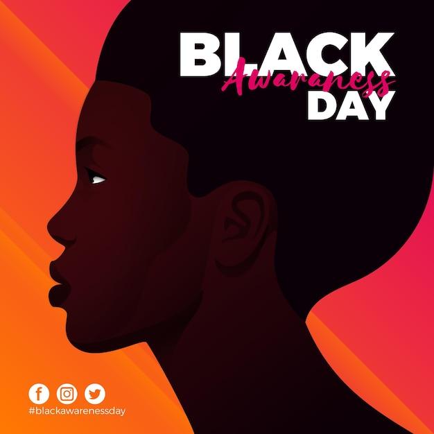 フラットデザインの黒人の自覚の日 Premiumベクター