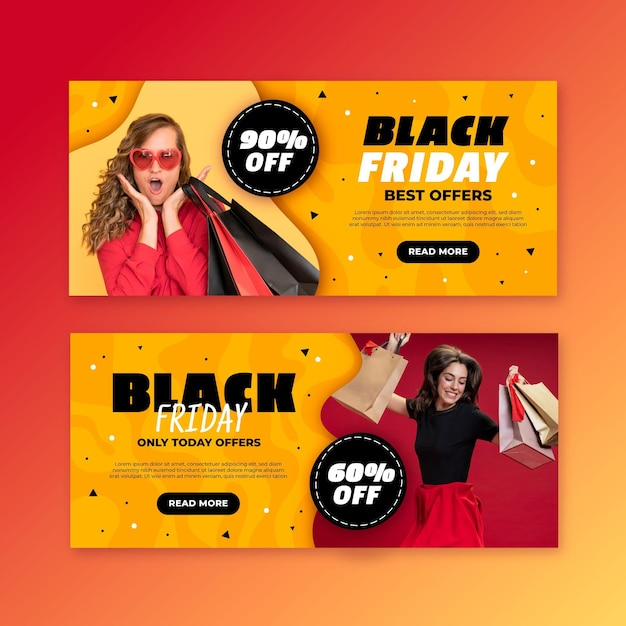Flat design black friday banners template Free Vector