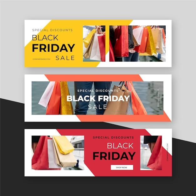 Плоский дизайн черная пятница баннеры с изображением Бесплатные векторы