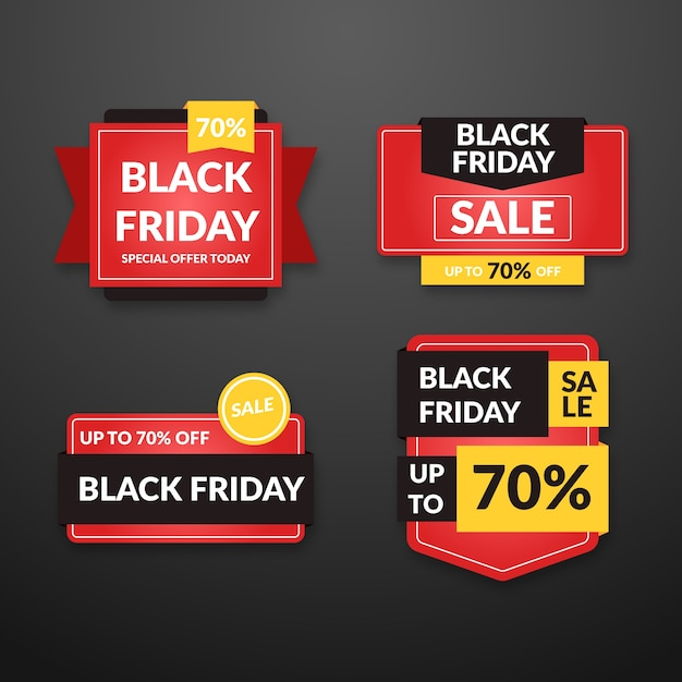 Flat design black friday banners Free Vector