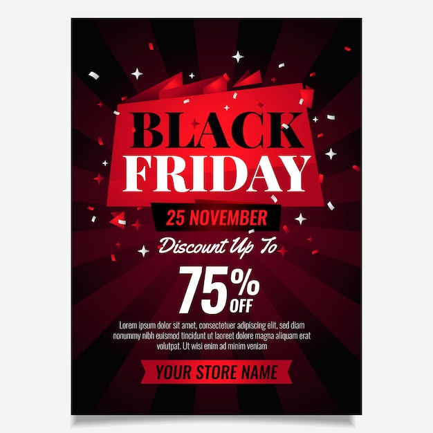 Flat design black friday flyer template Free Vector