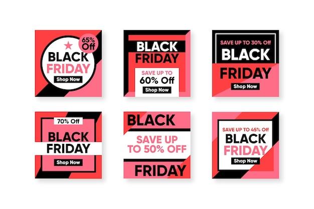Черная пятница в instagram с плоским дизайном Бесплатные векторы