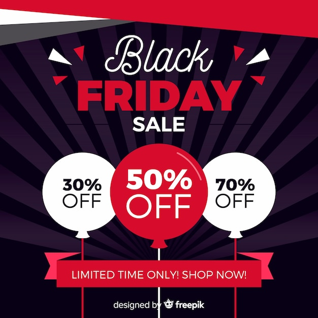 Flat design black friday sale with balloons Free Vector