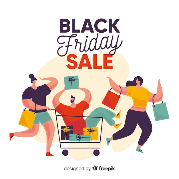 Flat design of black friday with people Free Vector