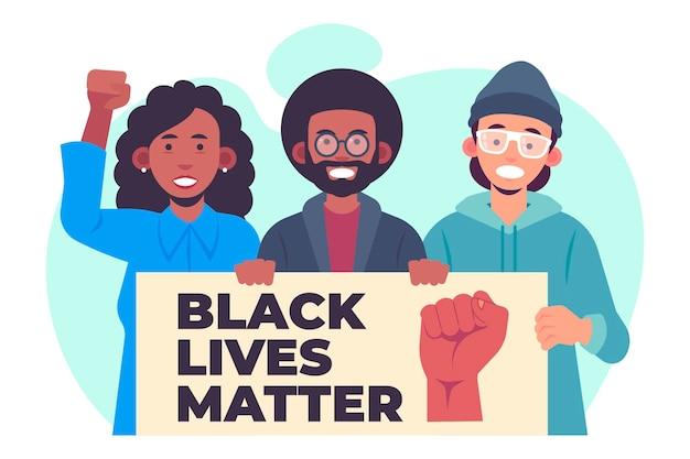 Flat design black lives matter protesters illustration Free Vector