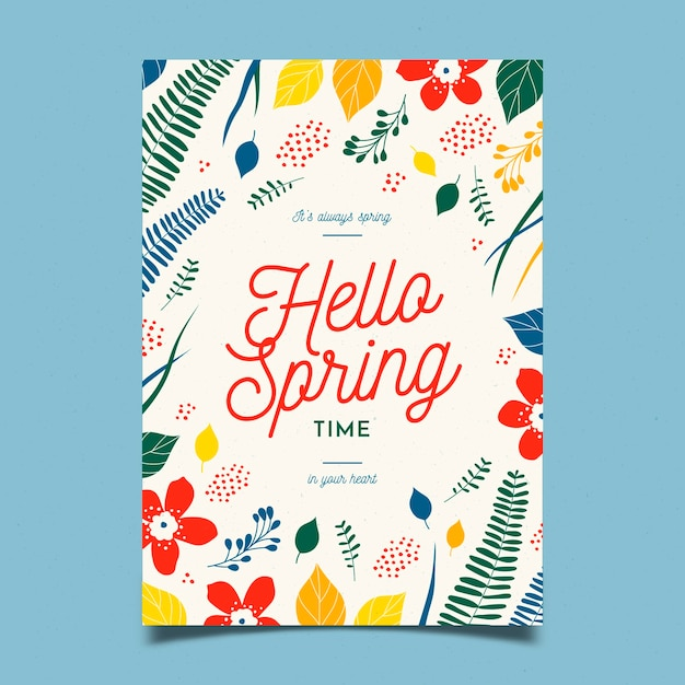 Flat design blossom flowers spring party flyer template Free Vector