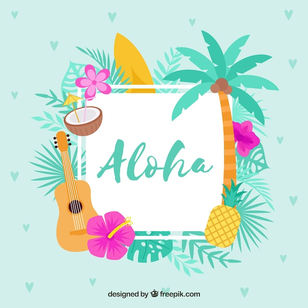 Flat Design Blue Aloha Background Vector Free Download