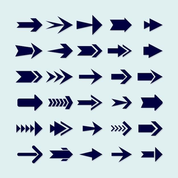 Flat design blue arrow collection Free Vector