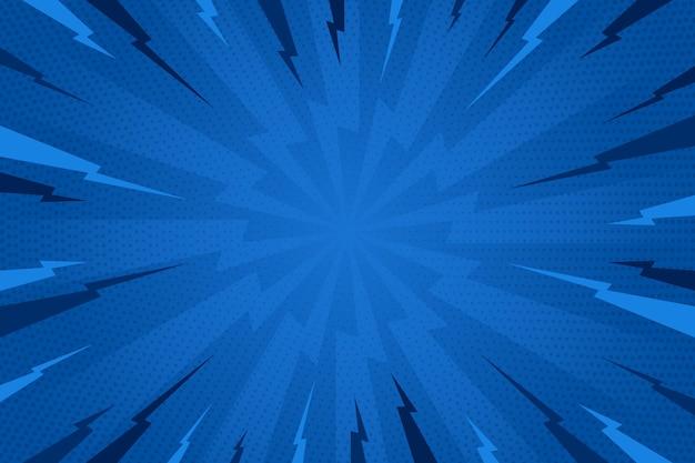 Sfondo blu stile fumetto design piatto Vettore gratuito