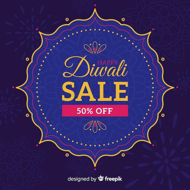 Flat design of blue diwali sale Free Vector