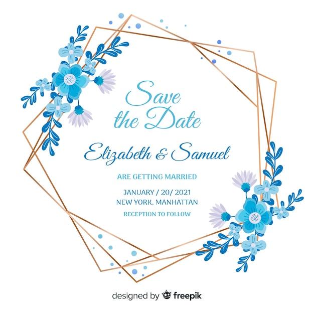 Flat design of blue floral frame wedding invitation Free Vector