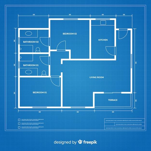 Flat design blueprint of a house Free Vector