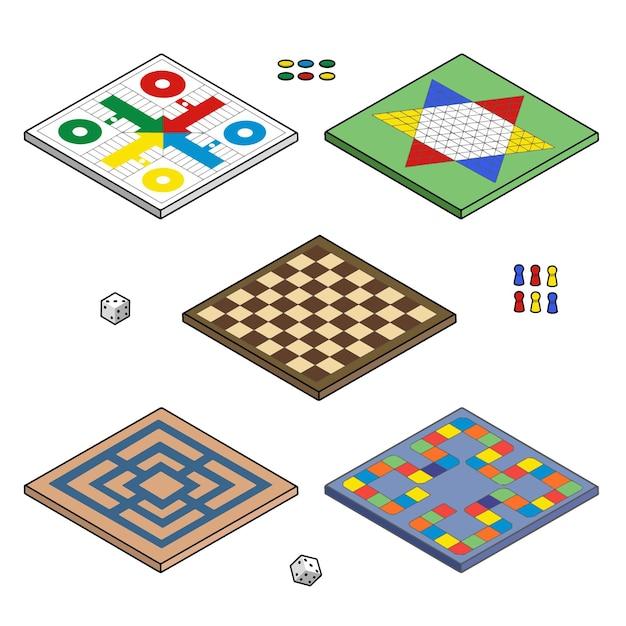 Коллекция настольных игр в плоском дизайне Бесплатные векторы