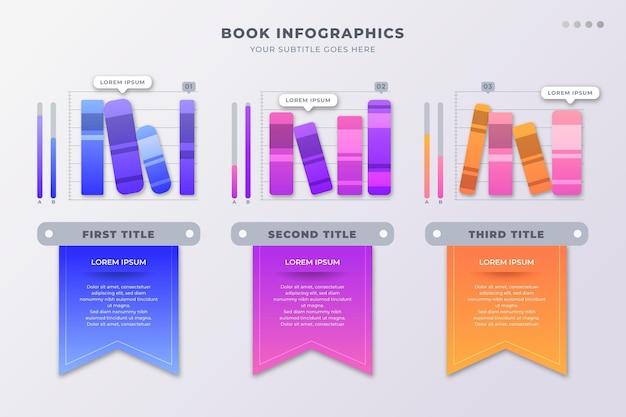Плоский дизайн книги инфографики с заполнителем текста Бесплатные векторы