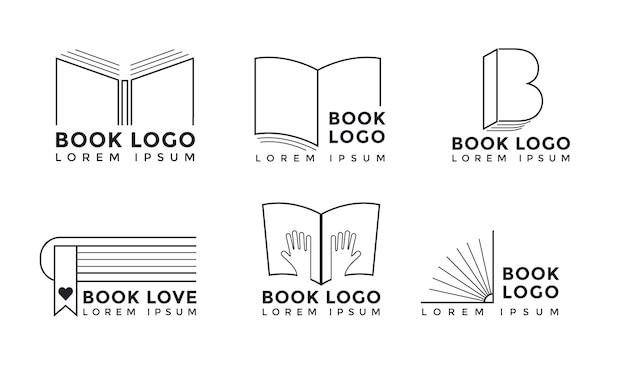 フラットデザインの本のロゴコレクション 無料ベクター