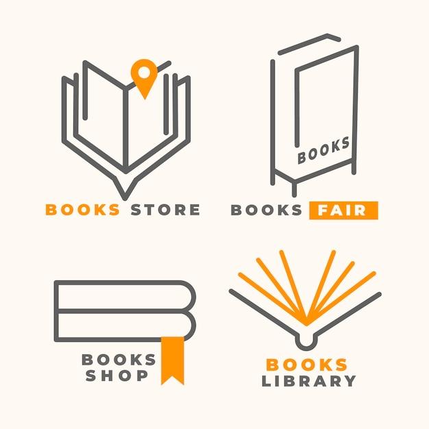 Коллекция логотипов книги в плоском дизайне Бесплатные векторы
