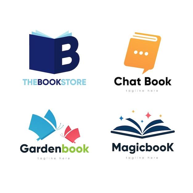 Плоский дизайн книги с логотипом Бесплатные векторы
