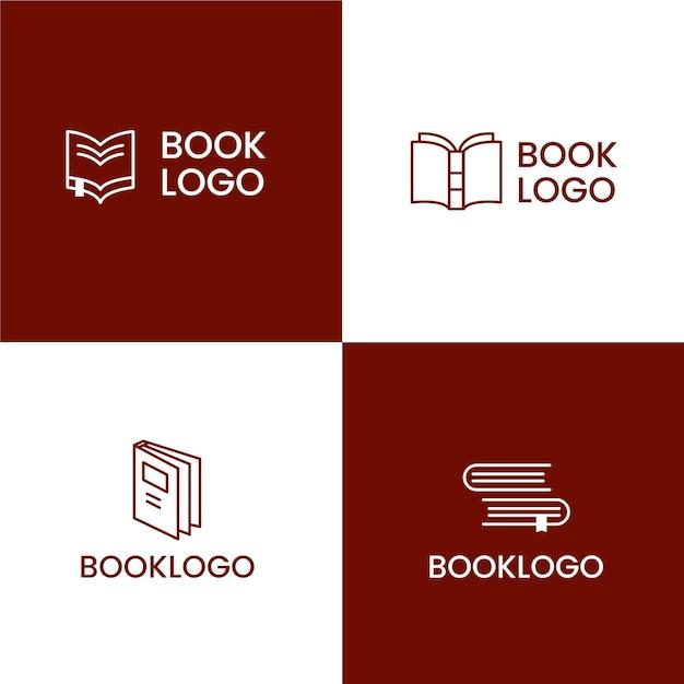 Плоский дизайн логотипа книги Premium векторы